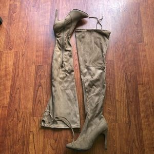 NWOT Faux Suede Thigh High Boot